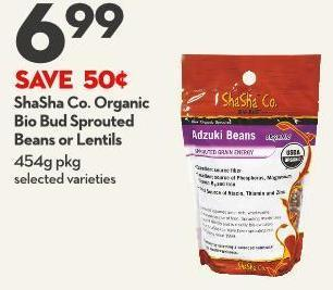 Shasha Co. Organic  Bio Bud Sprouted  Beans or Lentils 454g Pkg