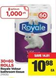 Royale Velour Bathroom Tissue - 30=60 Rolls