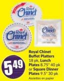Royal Chinet Buffet Platters 18 Pk - Lunch Plates 8.75in 40 Pk or Square Dinner Plates 9.5in 30 Pk