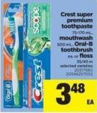 Crest Super Premium Toothpaste - 75-170 Ml - Mouthwash 500 Ml - Oral-b Toothbrush Ea. Or Floss - 35-40 M