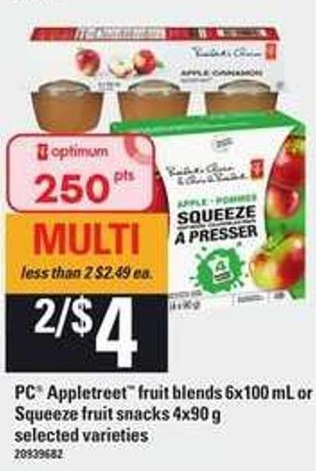 PC Appletreet Fruit Blends 6x100 Ml Or Squeeze Fruit Snacks 4x90 G