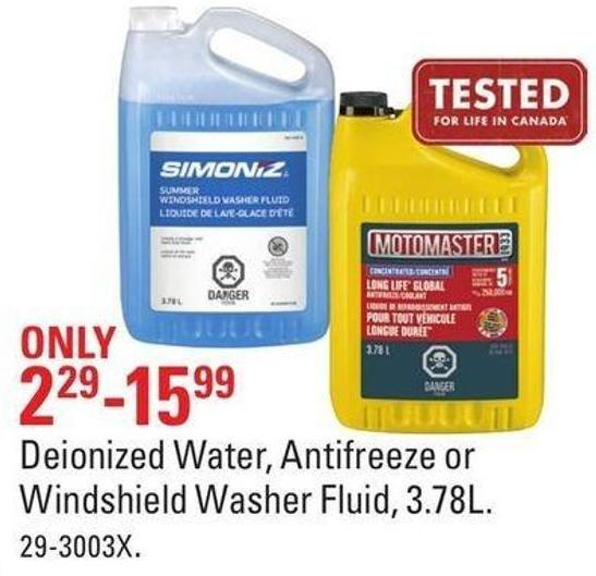 Deionized Water - Antifreeze or Windshield Washer Fluid - 3.78l