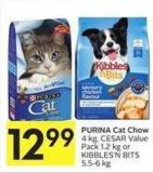 Purina Cat Chow 4 Kg - Cesar Value Pack 1.2 Kg or Kibbles'n Bits 5.5-6 Kg