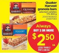Quaker Harvest Granola Bars - 175-300 g