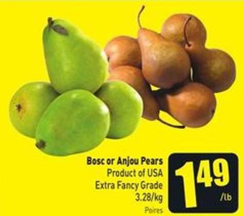 Bosc or Anjou Pears Product of USA Extra Fancy Grade 3.28/kg
