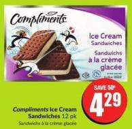 Compliments Ice Cream Sandwiches 12 Pk