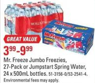 Mr. Freeze Jumbo Freezies - 27-pack or Jumpstart Spring Water - 24 X 500ml Bottles