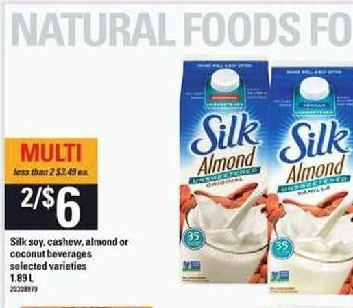 Silk Soy - Cashew - Almond Or Coconut Beverages - 1.89 L