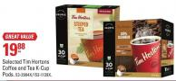 Selected Tim Hortons Coffee and Tea K-cup Pods