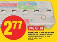 Prestige or Grayridge Grade A Large Eggs - Pkg Of 18