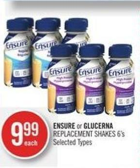Ensure or Glucerna Replacement Shakes