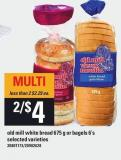 Old Mill White Bread 675 G Or Bagels 6's