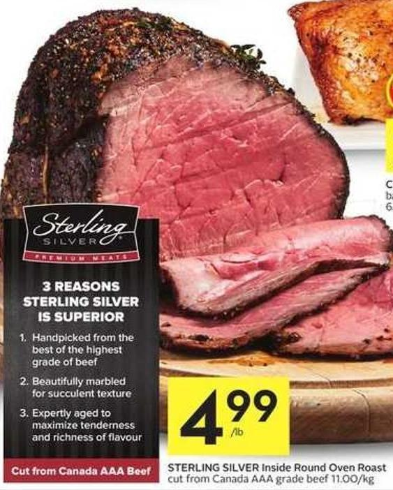 Sterling Silver Inside Round Oven Roast Cut From Canada Aaa Grade Beef 11.00/kg
