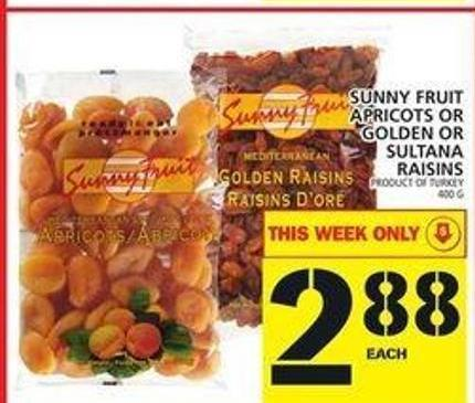Sunny Fruit Apricots Or Golden Or Sultana Raisins