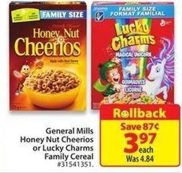 General Mills Honey Nut Cheerios or Lucky Charms Family Cerealrollback