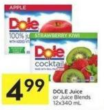 Dole Juice or Juice Blends 12x340 mL