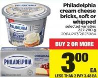 Philadelphia Cream Cheese Bricks - Soft Or Whipped - 227-280 g