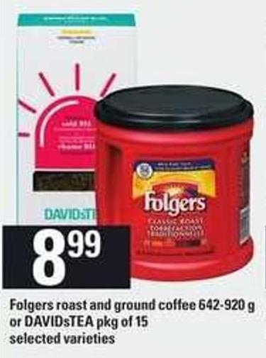 Folgers Roast And Ground Coffee - 642-920 G Or Davidstea - Pkg Of 15