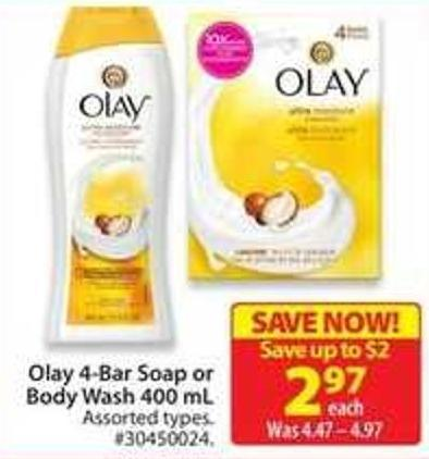Olay 4-bar Sop or Body Wash 400 mL