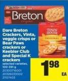 Dare Breton Crackers - Vinta - Veggie Crisps Or Bear Paws Crackers Or Keebler Club And Special K Crackers - 100-391 g