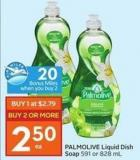 Palmolive Liquid Dish Soap 591 or 828 mL - 20 Air Miles Bonus Miles