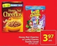 Honey Nut Cheerios or Lucky Charms Family Cereal