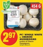 PC Whole White or Cremini Mushrooms - 454 g