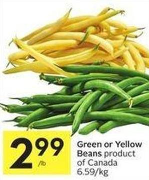 Green or Yellow Beans Product of Canada 6.59/kg