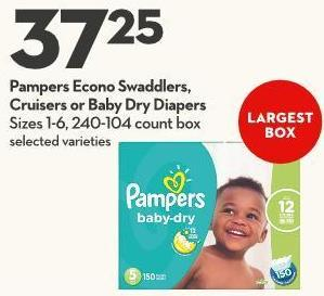 Pampers Econo Swaddlers - Cruisers or Baby Dry Diapers Sizes 1-6 - 240-104 Count Box