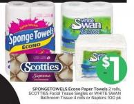 Spongetowels ÉCono Paper Towels 2 Rolls - Scotties Facial Tissue Singles or White Swan Bathroom Tissue 4 Rolls or Napkins 100 Pk