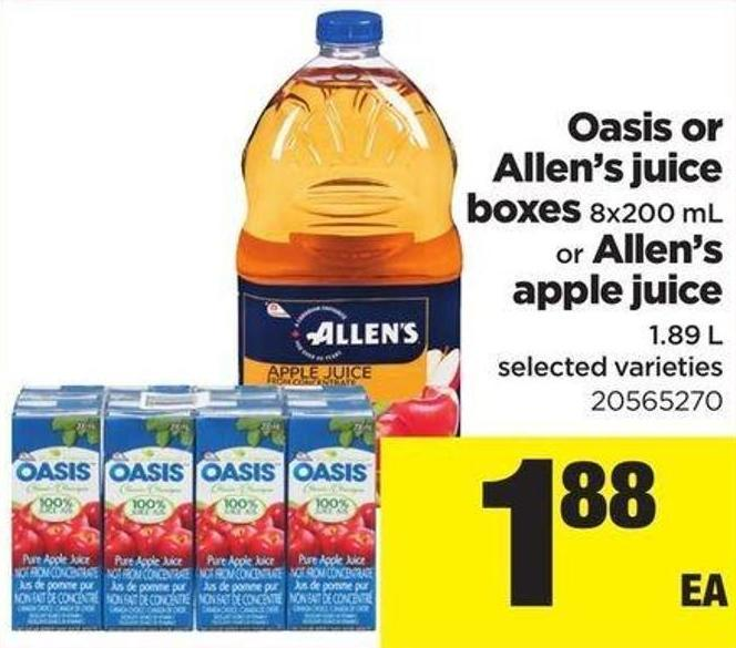 Oasis Or Allen's Juice Boxes - 8x200 Ml Or Allen's Apple Juice - 1.89 L