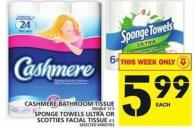 Cashmere Bathroom Tissue Or Sponge Towels Ultra Or Scotties Facial Tissue