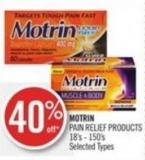 Motrin Pain Relief Products 18's - 150's