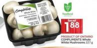 Compliments Whole White Mushrooms 227 g