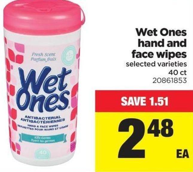 Wet Ones Hand And Face Wipes - 40 Ct