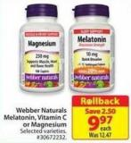Webber Naturals Melatonin Vitamin C or Magnesium