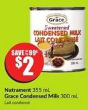 Nutrament 355 mL Grace Condensed Milk 300 mL