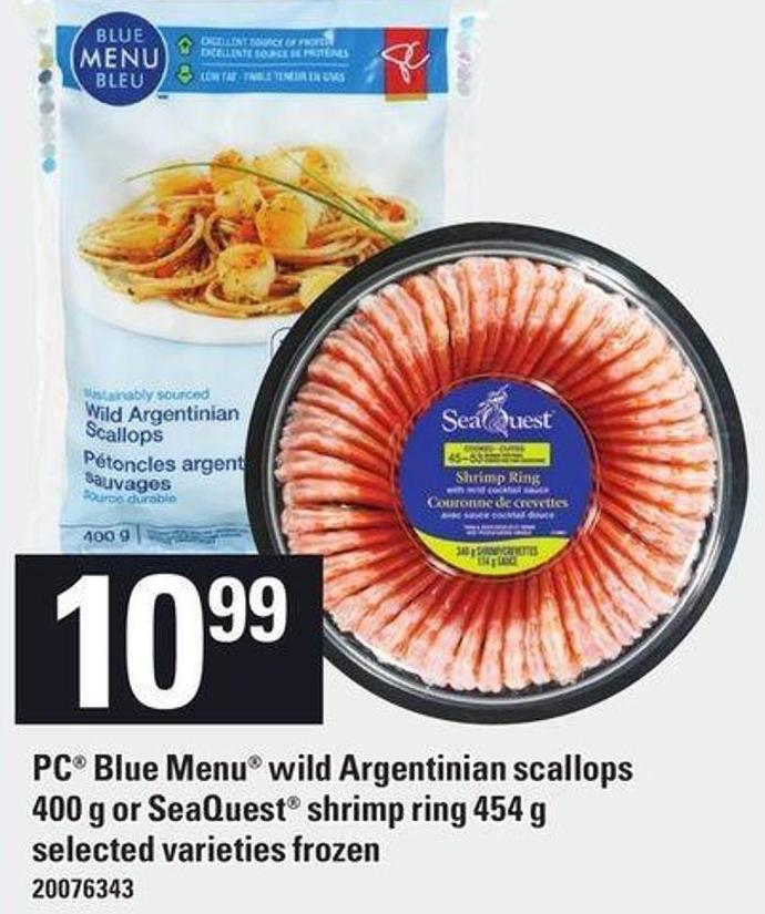 PC Blue Menu Wild Argentinian Scallops 400 G Or Seaquest Shrimp Ring 454 G