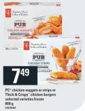 PC Chicken Nuggets Or Strips Or Thick & Crispy Chicken Burgers - 800 G