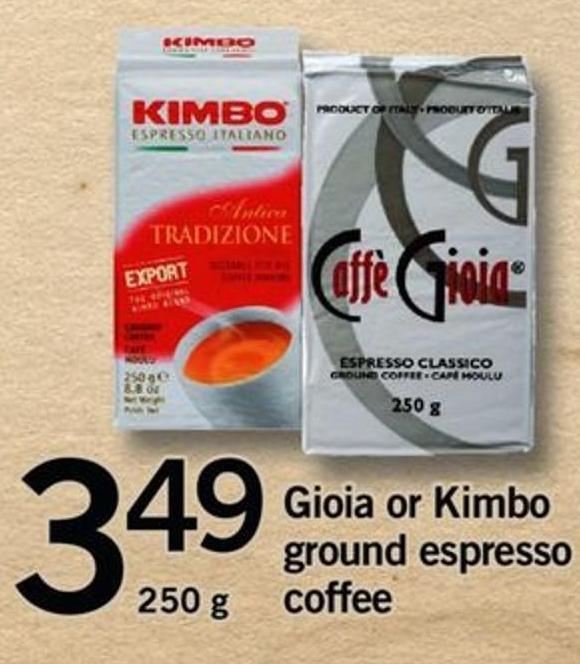 Gioia Or Kimbo Ground Espresso Coffee - 250 G