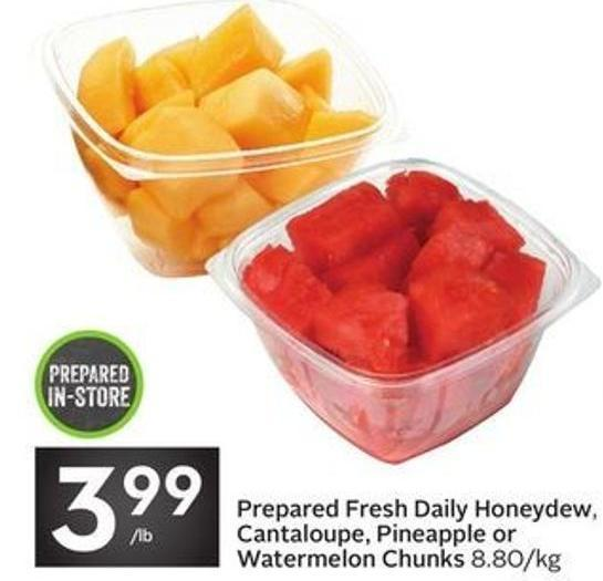 Prepared Fresh Daily Honeydew - Cantaloupe - Pineapple or Watermelon Chunks
