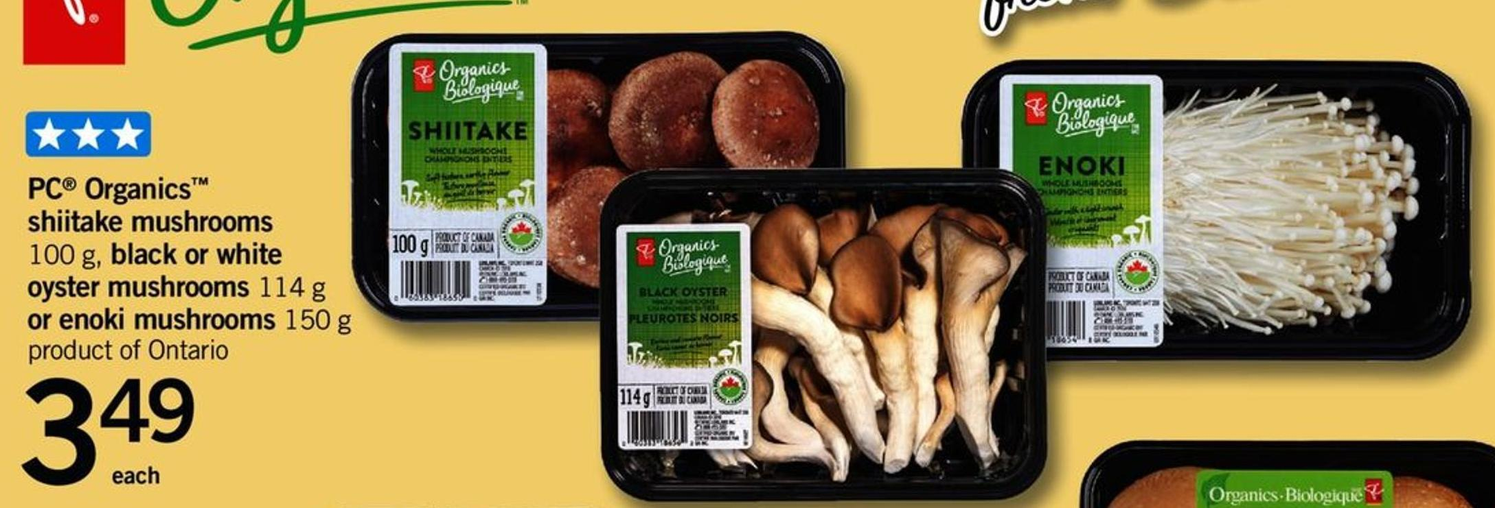 PC Organics Shiitake Mushrooms - 100 G - Black Or White Oyster Mushrooms - 114 G Or Enoki Mushrooms - 150 G