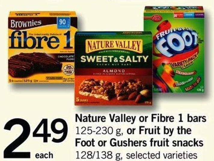 Nature Valley Or Fibre 1 Bars - 125-230 G Or Fruit By The Foot Or Gushers Fruit Snacks - 128/138 G