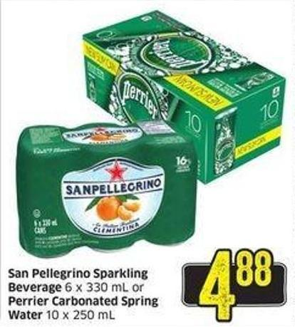 San Pellegrino Sparkling Beverage 6 X 330 mL or Perrier Carbonated Spring Water 10 X 250 mL