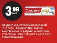 Colgate Super Premium Toothpaste - 70-170 mL - Colgate 360° Manual Toothbrushes Or Colgate Mouthwash - 250- 500 mL