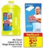 Mr. Clean Liquid 2.4 L or Magic Eraser 4-pack