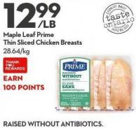 Maple Leaf Prime Thin Sliced Chicken Breasts
