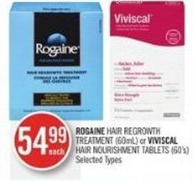 Rogaine Hair Regrowth Treatment (60ml) or Viviscal Hair Nourishment Tablets (60's)
