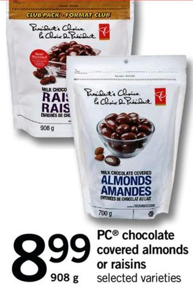 PC Chocolate Covered Almonds Or Raisins - 908 G