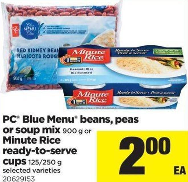 PC Blue Menu Beans - Peas Or Soup Mix 900 G Or Minute Rice Ready-to-serve Cups - 125/250 G